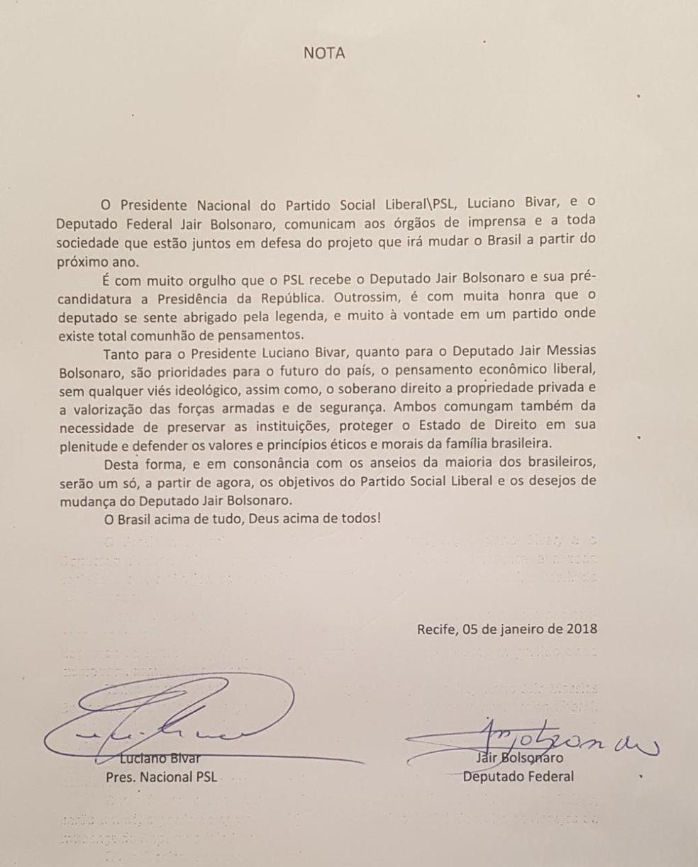 Carta do deputado Jair Bolsonaro anunciando filiação ao PSL (Foto: Reprodução)