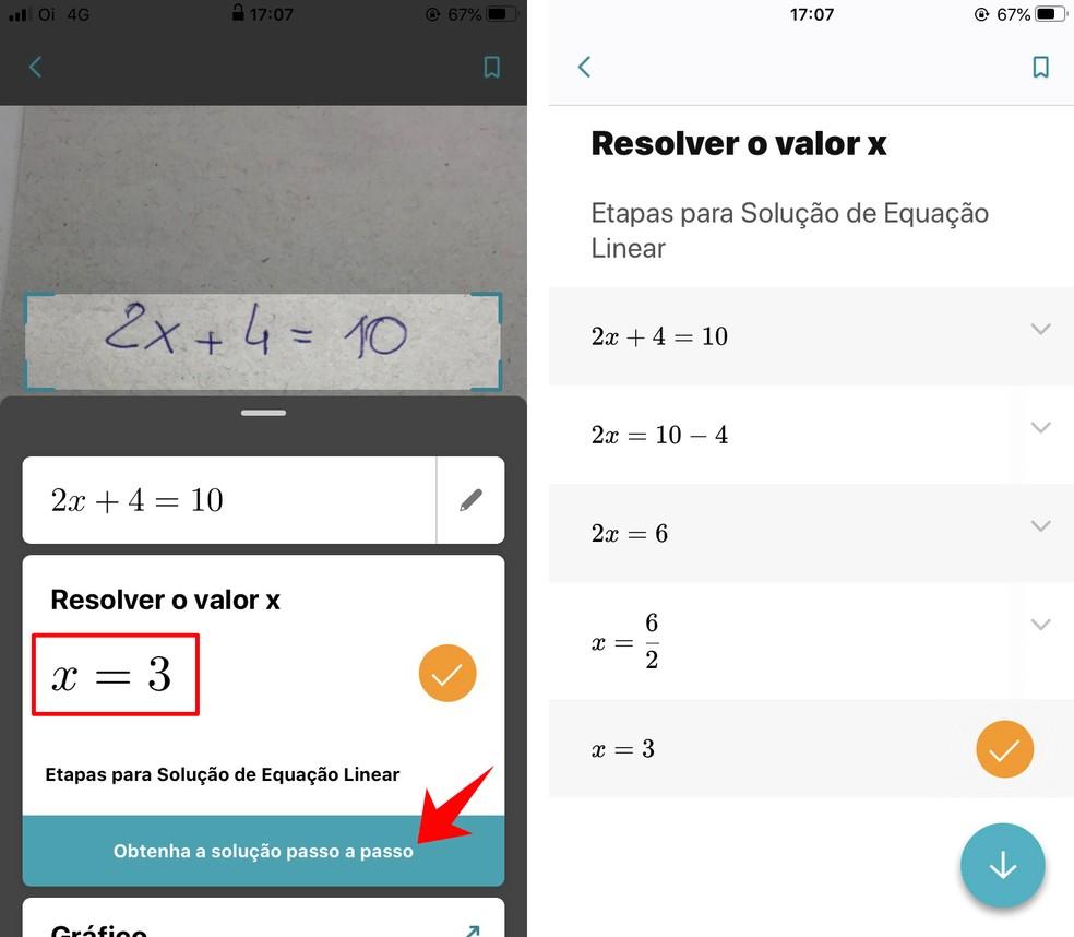 Microsoft Math Solver resolve equações online e mostra o passo a passo da solução matemática — Foto: Reprodução/Rodrigo Fernandes