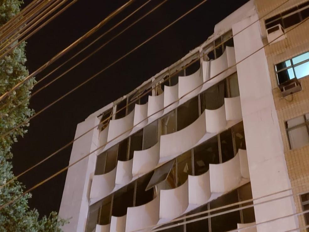 Laje do último andar do Hospital Sírio-Libanês Rio desabou nesta quinta — Foto: Leonardo Ferreira/ Tv Globo