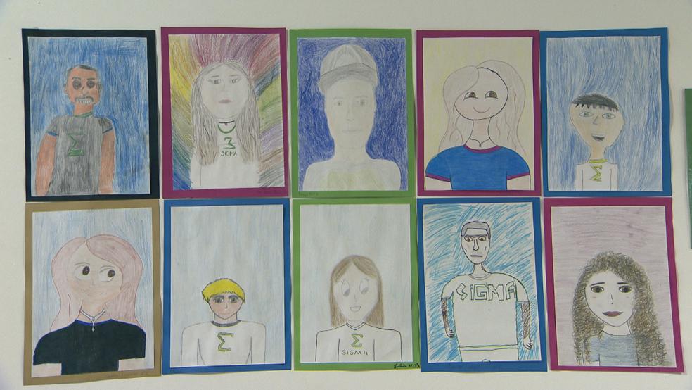 Alunos desenham diferentes expressões e estilos dos alunos, no DF  (Foto: TV Globo/Reprodução )