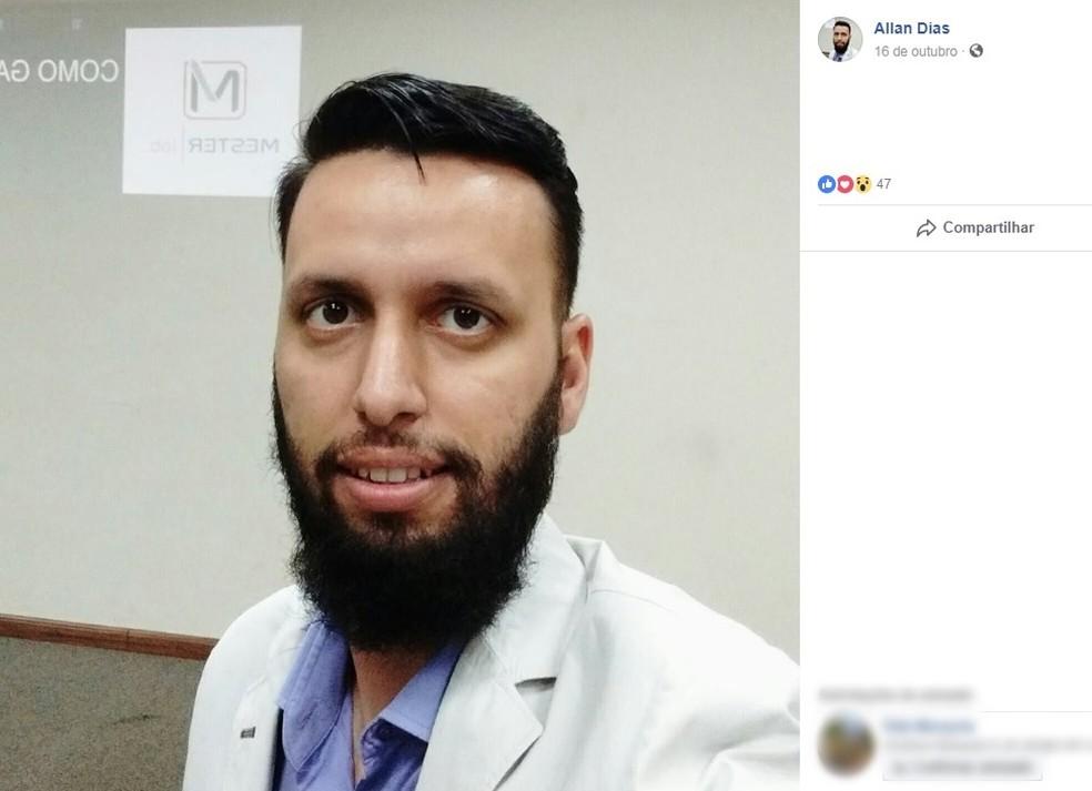Allan Dias havia acabado de fazer check in em hotel e foi atingido por árvore em vendaval em Piracicaba — Foto: Reprodução/Facebook/Allan Dias