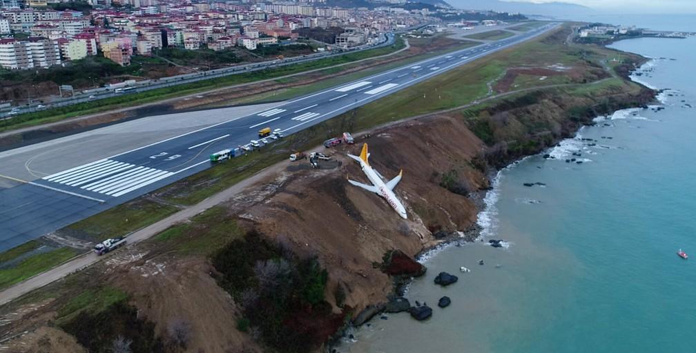 -  Avião derrapou da pista e parou no barranco à beira mar  Foto: Ihlas News Agency