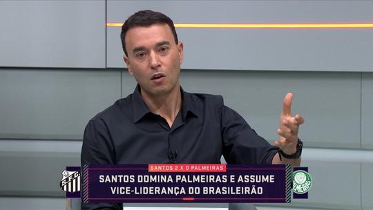 """Arnaldo Ribeiro diz que Palmeiras atrás do Santos é """"vexame"""", e Rizek completa: """"Parecia europeu contra sul-americano"""""""