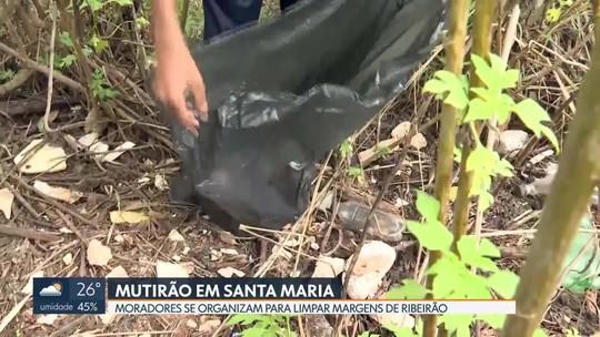 Redação Móvel mostra mutirão de limpeza no ribeirão Santa Maria