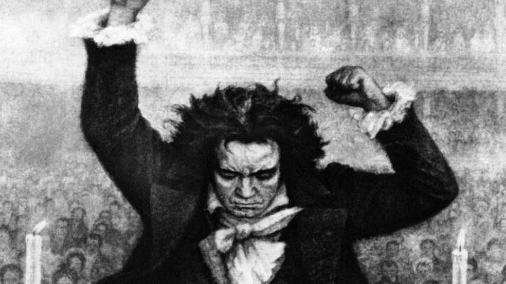 Apesar da surdez, Beethoven participou da estreia de sua Nona Sinfonia. — Foto: GETTY IMAGES