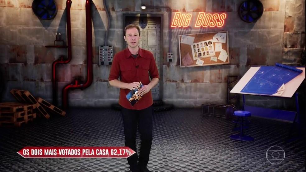 Tiago Leifert divulga resultado de Big Boss desta sexta-feira,15/3 — Foto: TV Globo