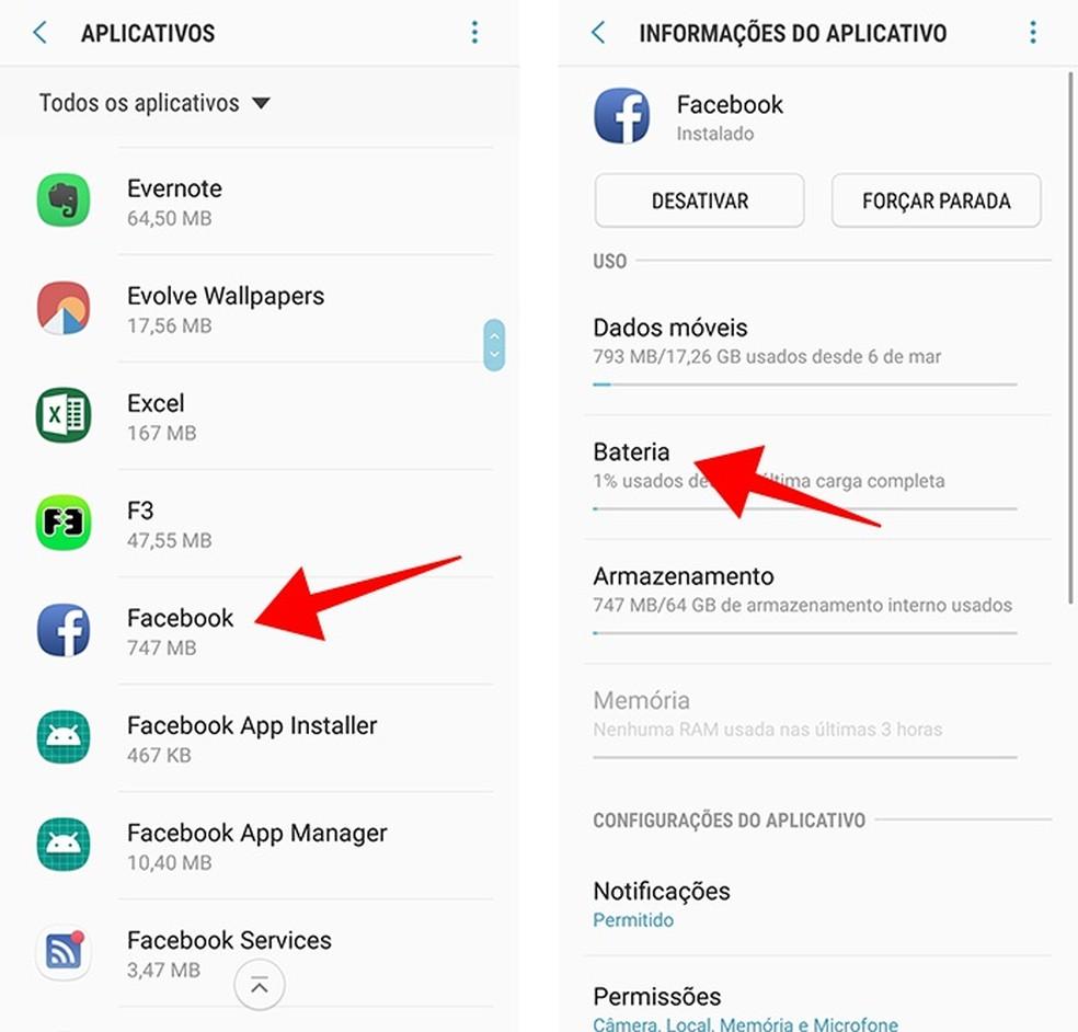 Acesse as opções de bateria de um aplicativo instalado — Foto: Reprodução/Paulo Alves