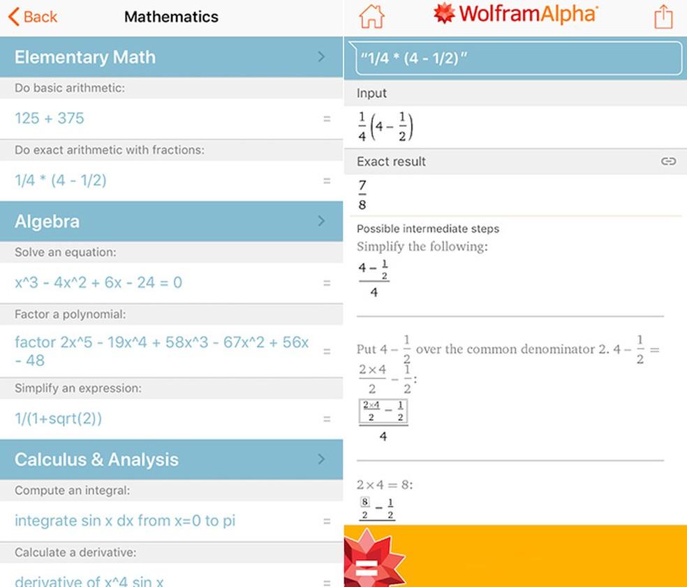 Wolfram Alpha ajuda na solução de equações complexas de nível avançado — Foto: Reprodução/Amanda de Almeida