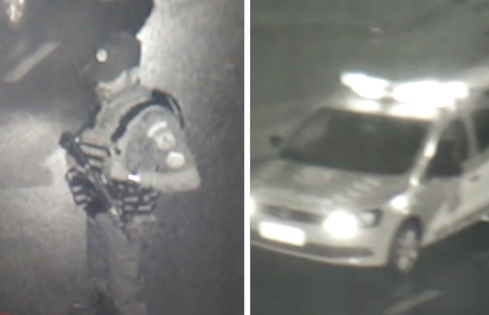 Bandidos estavam com farda idêntica à da PM e com carro adulterado (Foto: Reprodução/TV Globo)