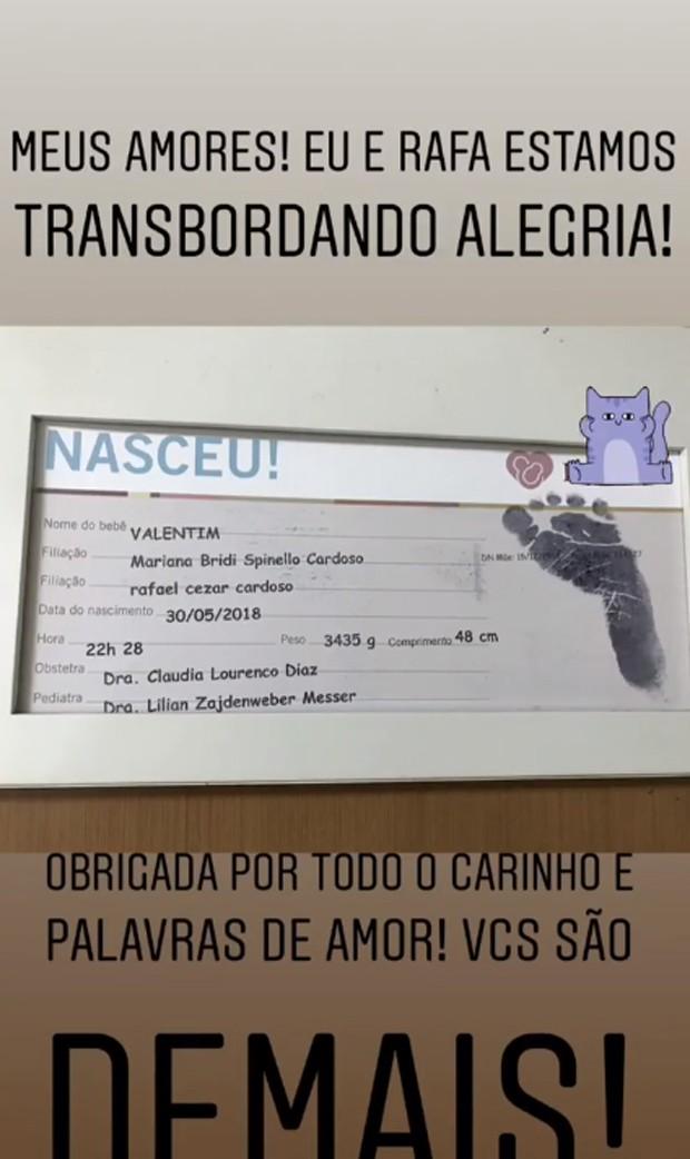 Anúncio do nascimento de Valentim, filho de Mariana Bridi e Rafael Cardoso (Foto: Reprodução/Instagram)