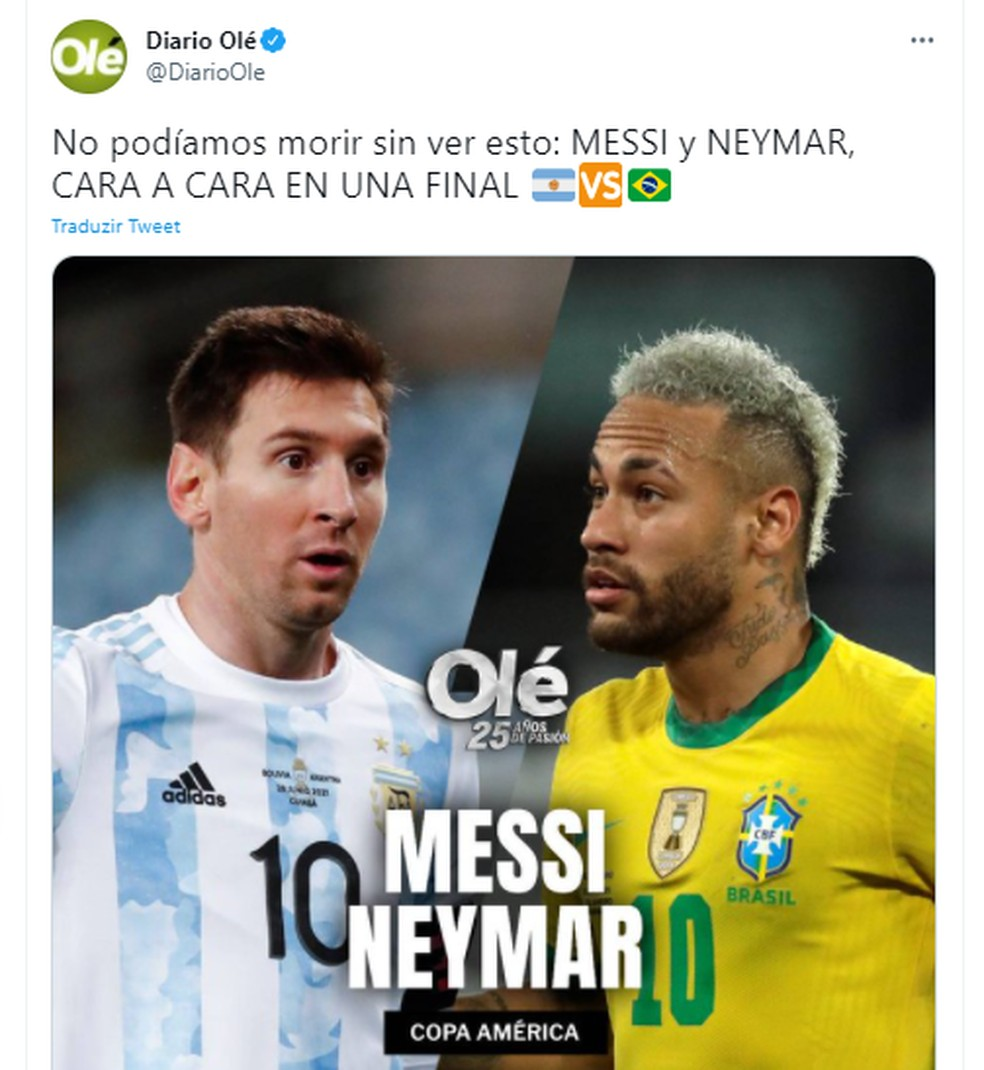 Olé, jornal argentino, exalta duelo entre Messi e Neymar na Copa América — Foto: Reprodução/Olé