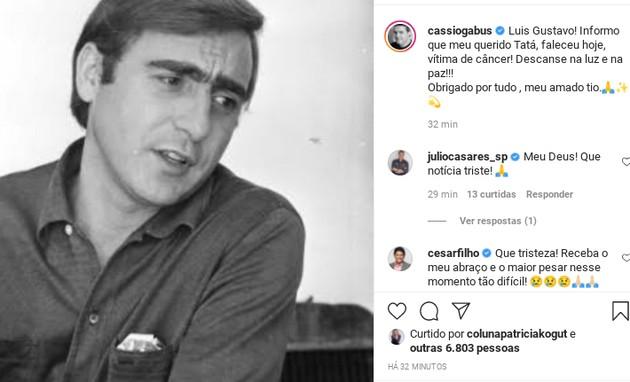 Cassio Gabus Mendes comunica a morte de Luis Gustavo (Foto: Reprodução Instagram)