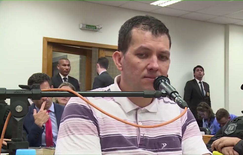 Evandro Wirganovicz foi interrogado no júri do caso Bernardo, que ocorreu há duas semanas — Foto: Reprodução/TJ-RS