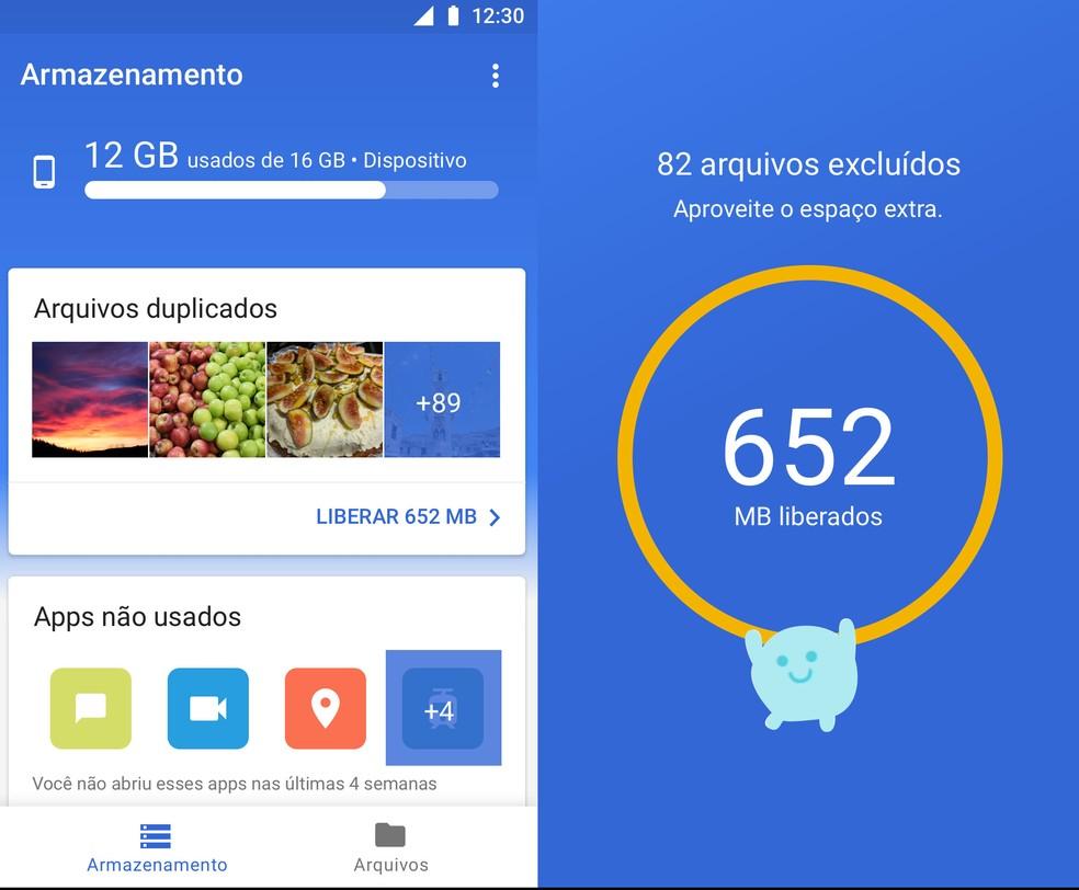 Files Go, aplicativo que gerencia armazenamento interno de smartphones. (Foto: Divulgação/Google)