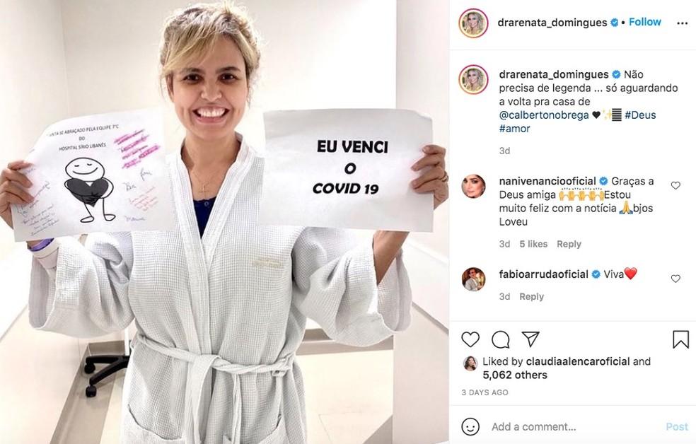 A médica Renata Domingues de Nóbrega, esposa do apresentador Carlos Alberto de Nóbrega, do SBT, anuncia a cura dela da Covid-19. — Foto: Reprodução/Redes Sociais
