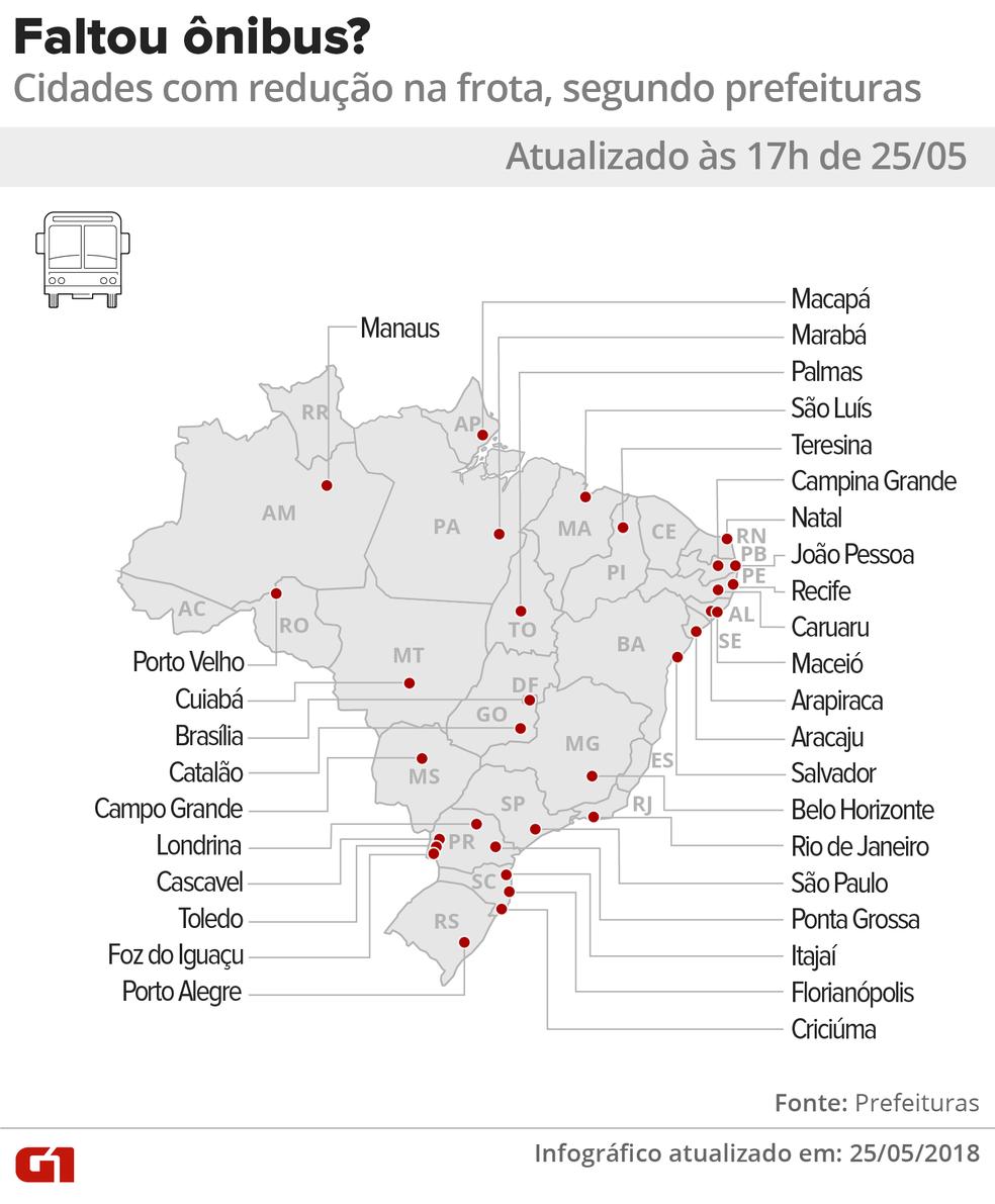 17h: Mapa com os estados onde há cidades que reduziram as frotas de ônibus por impacto da greve dos caminhoneiros (Foto: Alexandre Mauro e Igor Estrella/G1)