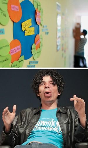 START UP A Casa das Redes (acima) e Pablo Capilé. A fundação banca  o aluguel de nove ativistas e um bebê (Foto: Celso junior/época e Felipe Rau/Estadão Conteúdo)