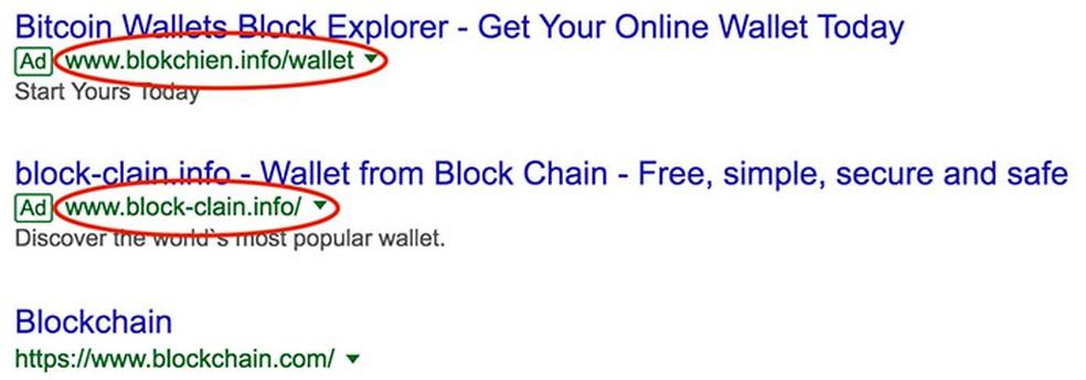 Anúncio malicioso que circulou na rede do Google em 2018 e levava internautas para site falso ligado a criptomoedas — Foto: Talos Intelligence/Cisco/Reprodução