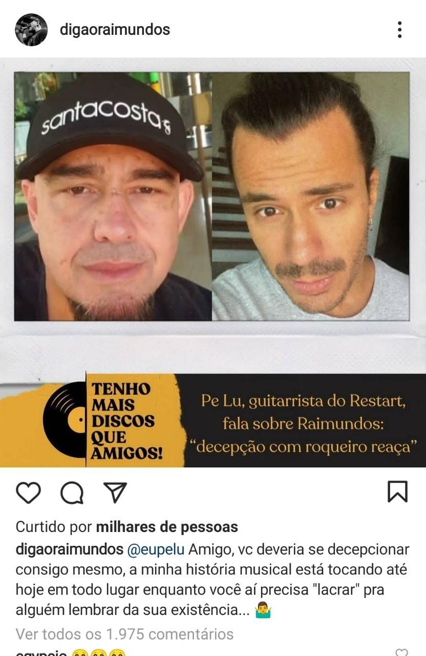 Digão rebate Pe Lu (Foto: Reprodução: Instagram)