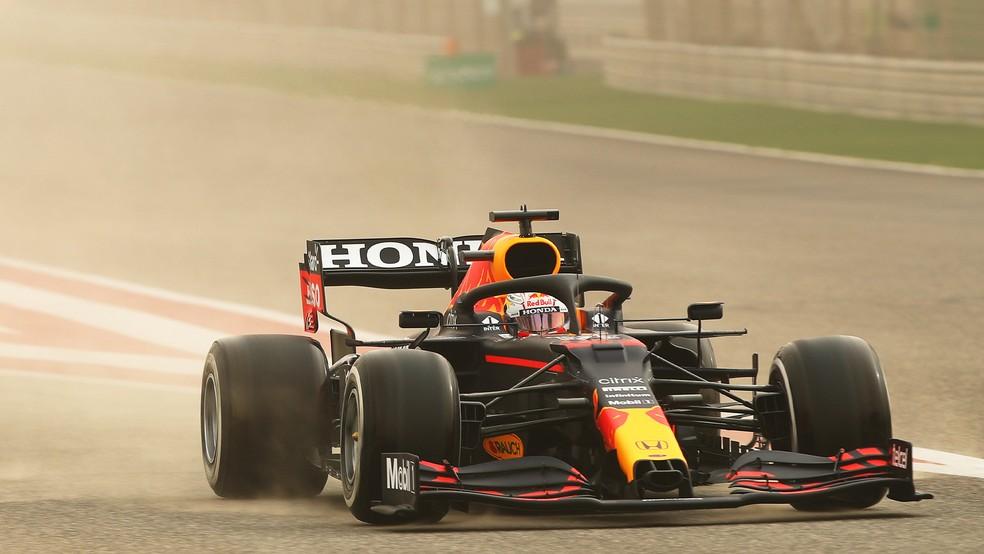 Max Verstappen, da RBR, na pré-temporada do Bahrein de 2021 — Foto: Reprodução RBR