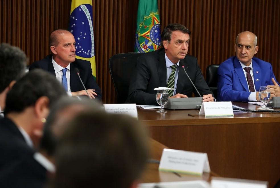 Presidente Jair Bolsonaro discursa em reunião do PPI de agosto, na qual governo incluiu mais 9 empresas na lista de privatizações — Foto: Marcos Corrêa/PR