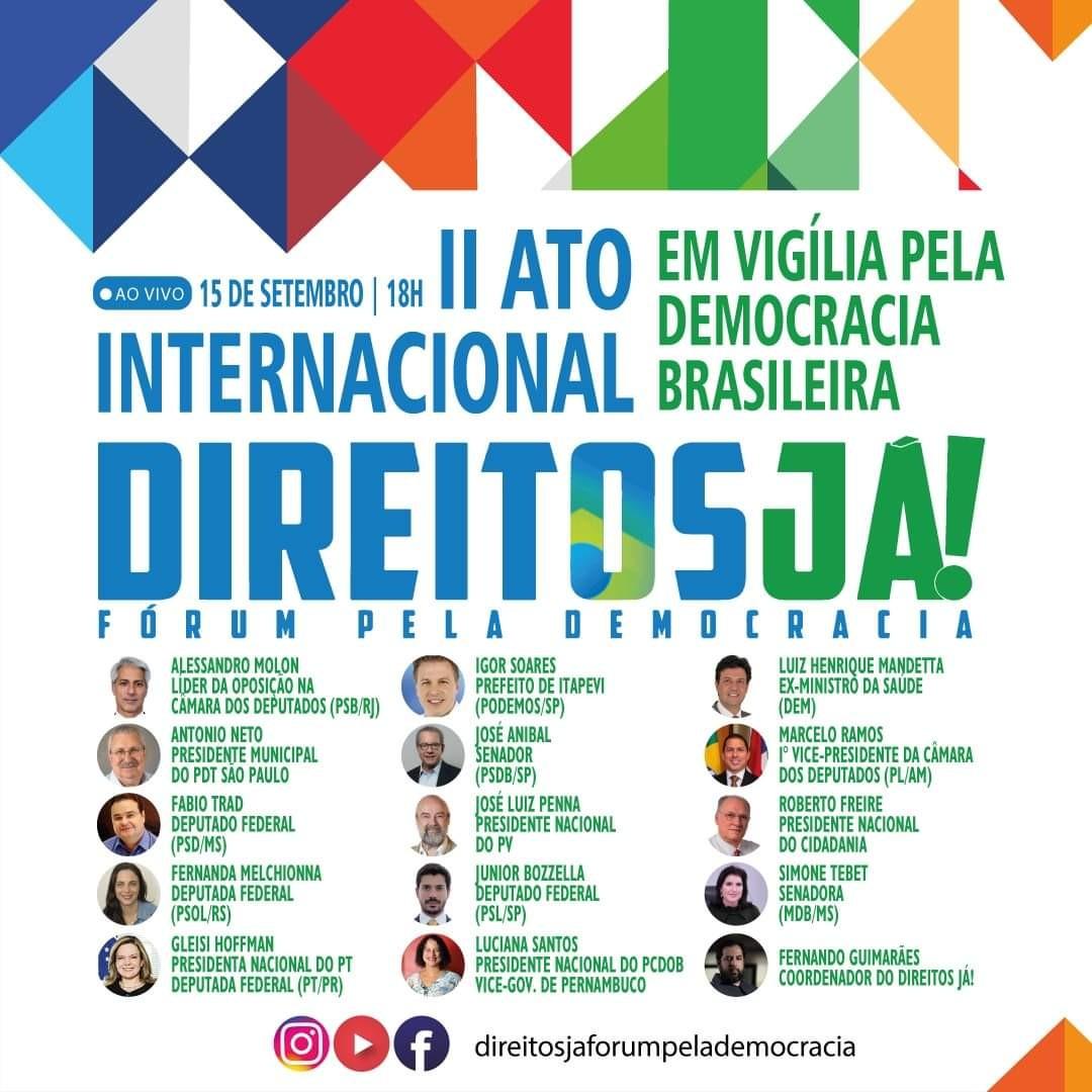 Lideranças de dezesseis partidos se reúnem em ato pelo Dia Internacional da Democracia em São Paulo