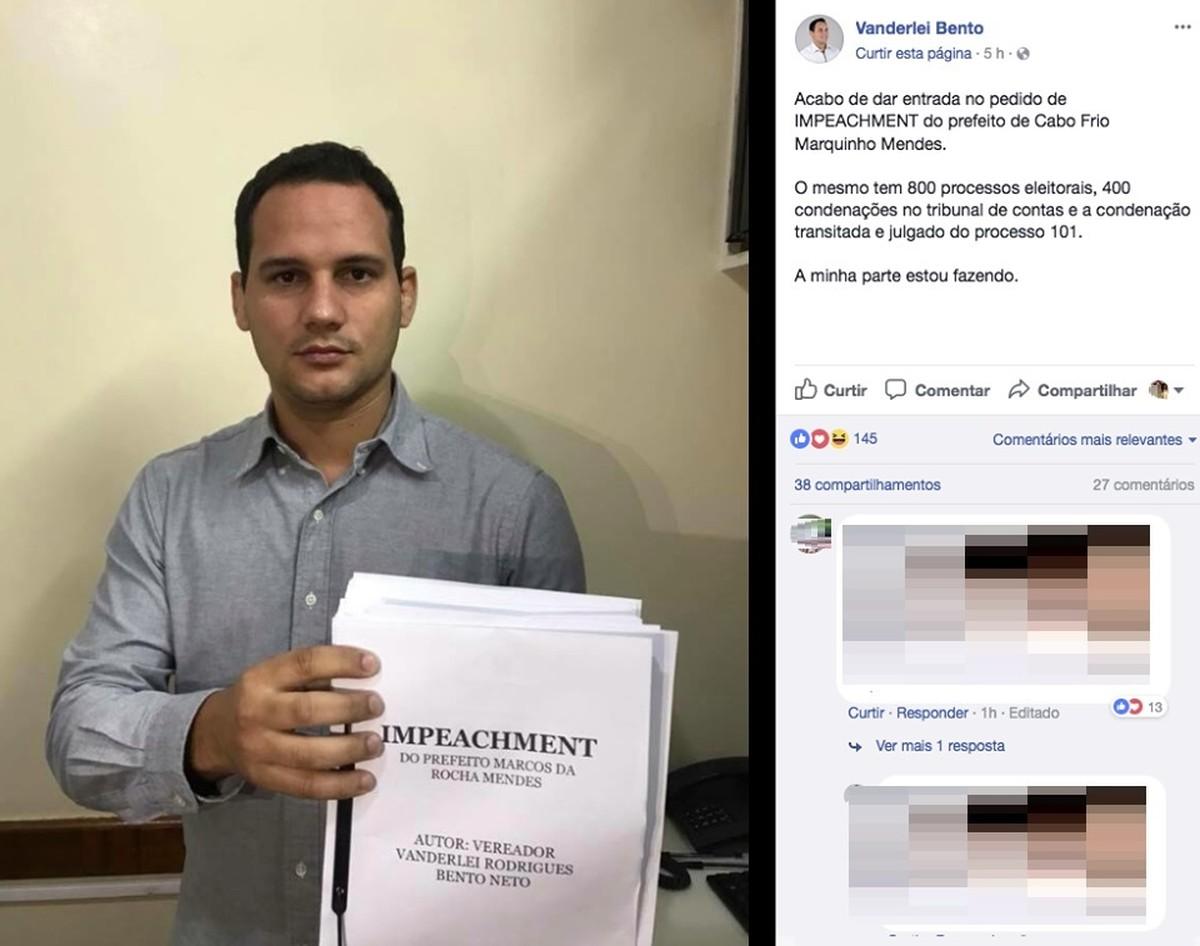 Vereador de Cabo Frio, RJ, entra com pedido de impeachment de Prefeito Marquinho Mendes