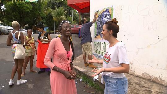 Intervenção artística homenageia personalidades como Marielle Franco e Moa do Katendê