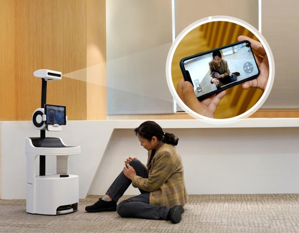 O Pecola (Personal Companion Robot for Older People Living Alone): robô que monitora o idoso dentro de casa — Foto: Divulgação