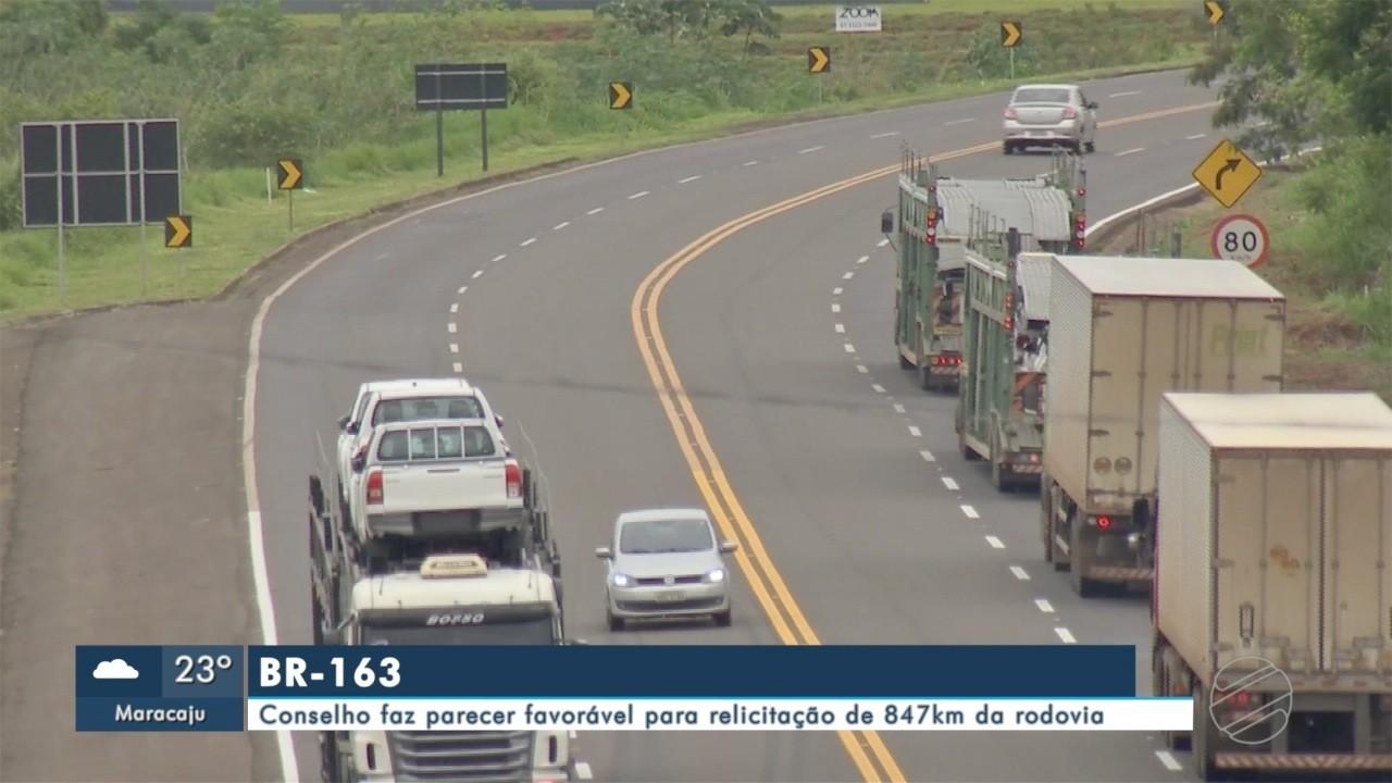 Conselho faz parecer favorável para relicitação de 847km da BR-163, em MS