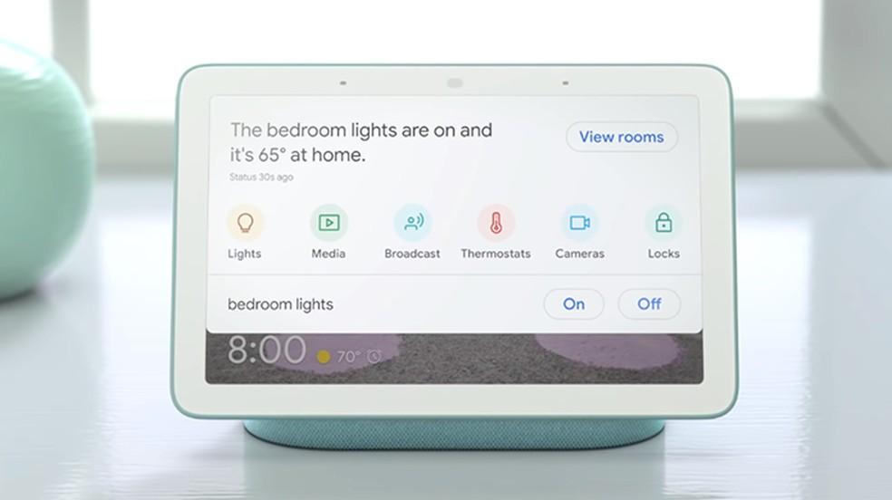 Google Home Hub é opção de display inteligente para a casa — Foto: Divulgação/Google