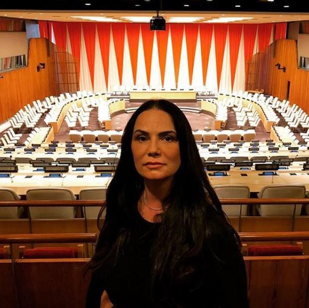 Luiza Brunet na sede da ONU em Nova York, nos Estados Unidos (Foto: Reprodução/Instagram)