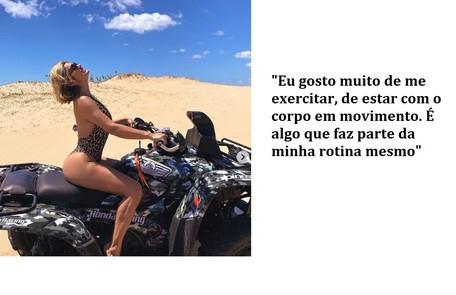 Flávia posa em quadriciclo e diz que gosta de fazer atividades físicas. Foto da atriz fez sucesso nas redes sociais Reprodução