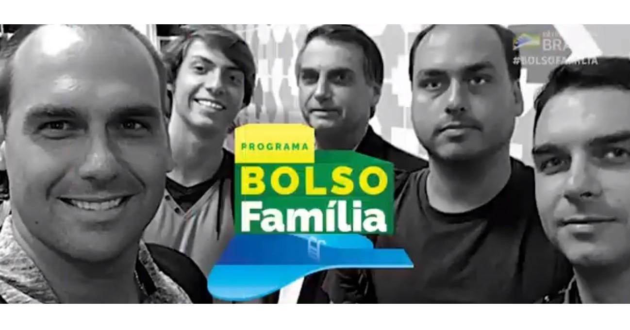 Trecho da campanha 'Bolso Família', sobre o presidente Jair Bolsonaro, a mulher e os filhos