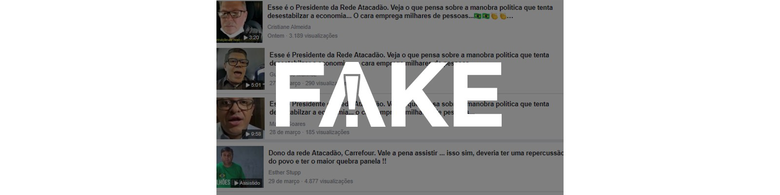 É #FAKE que vídeos mostrem donos do Atacadão e do Carrefour pedindo fim do isolamento social