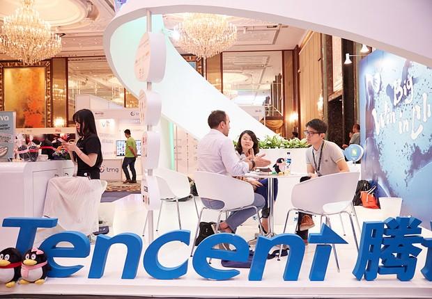 Estande da Tencent durante a Sportel Asia Conference em 15 de março de 2016 em Cingapura (Foto: GettyImages)
