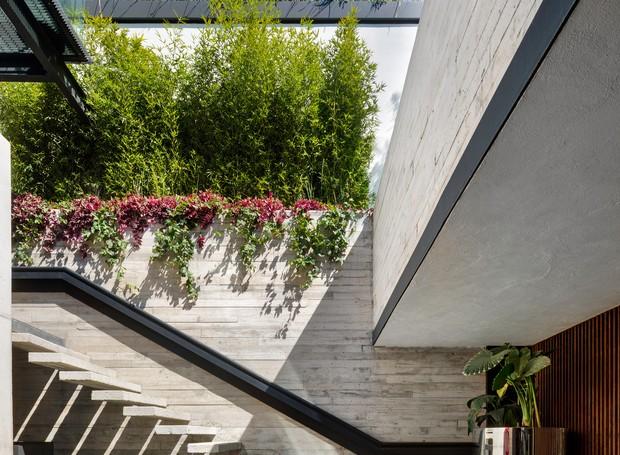 As extremidades do primeiro andar foram utilizadas como jardim, colorindo o espelho d'água na entrada. Placas de concreto apoiam-se na parede ao lado de formam os degraus da escada (Foto:  Rafael Gamo/ Reprodução)