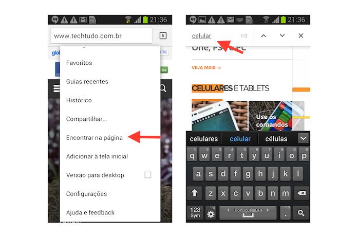 Utilizando a ferramenta Encontrar na Página do Chrome para Android (Foto: Reprodução/Marvin Costa)