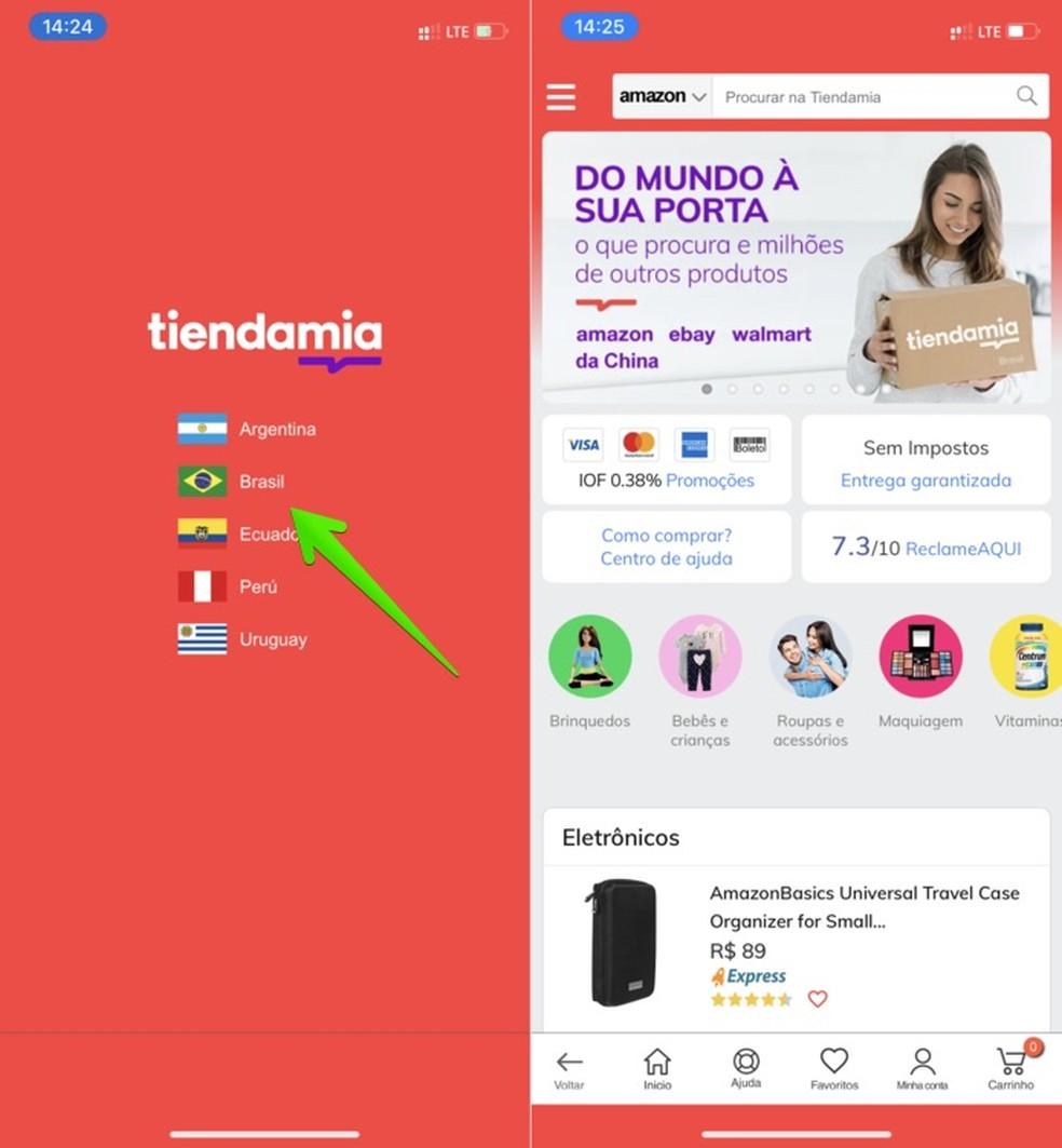 Configuração inicial do app Tiendamia — Foto: Reprodução/Helito Beggiora