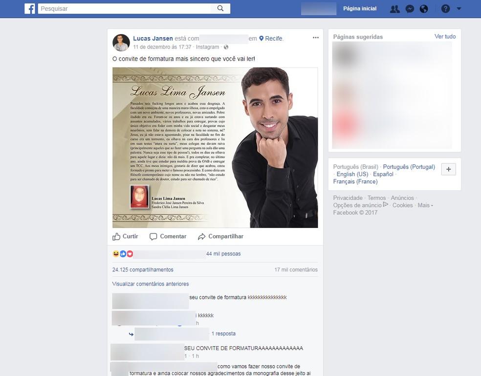 Convite com relato sincero de estudante recifense foi postado no dia 11 de dezembro de 2017 (Foto: Reprodução/Facebook)