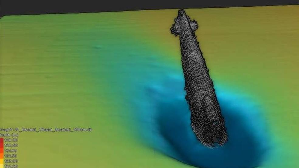 Os restos do submarino foram encontrados no Estreito de Escagerraque, na Dinamarca (Foto: SEA WAR MUSEUM JUTLAND)