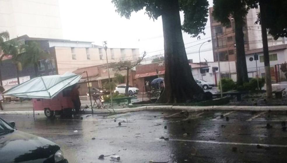 Ventos derrubaram galhos no Centro de Varginha (MG) (Foto: Reprodução/Redes Sociais)