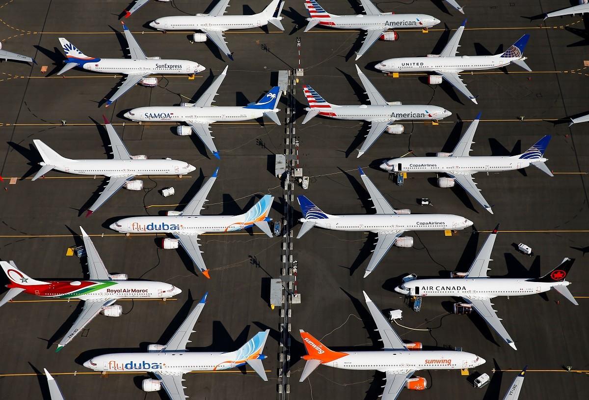 Aviões Boeing 737 MAX parados em instalação da empresa em Seattle (Foto: Lindsey Wasson/Reuters)