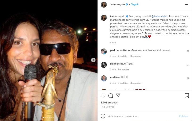 Ivete Sangalo se despede de Letieres Leite, autor de arranjos de hits de sucesso: 'Talento é poderoso demais'