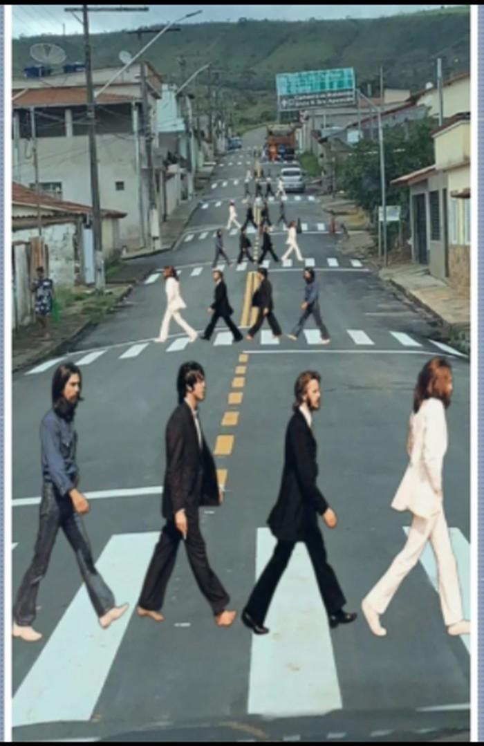 Foto de rua com 11 faixas de pedestres vira montagem com Beatles e viraliza na internet em MG
