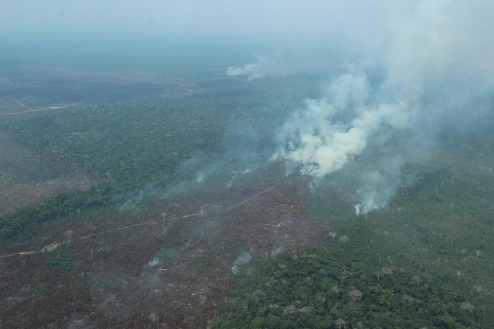 Queimada atinge área desmatada no sul do Amazonas — Foto: Jonatas Boni/G1