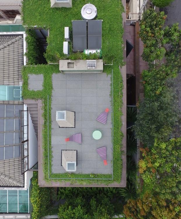 De cima, é possível ver as clarabóias na laje-jardim, que se transformou em cenário para apreciar o pôr-do-sol (Foto: Pedro Kok)