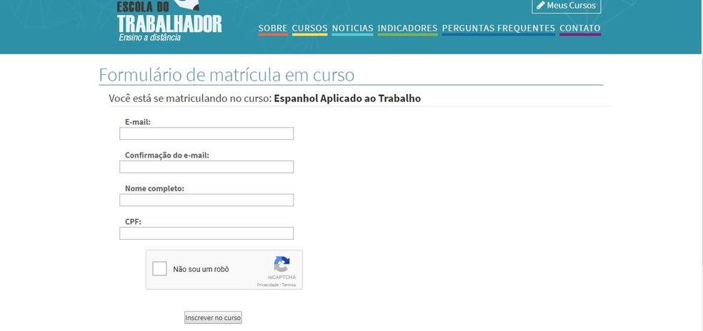 Para se inscrever, basta preencher o formulário com dados pessoais e e-mail (Foto: Reprodução/Clara Barreto)