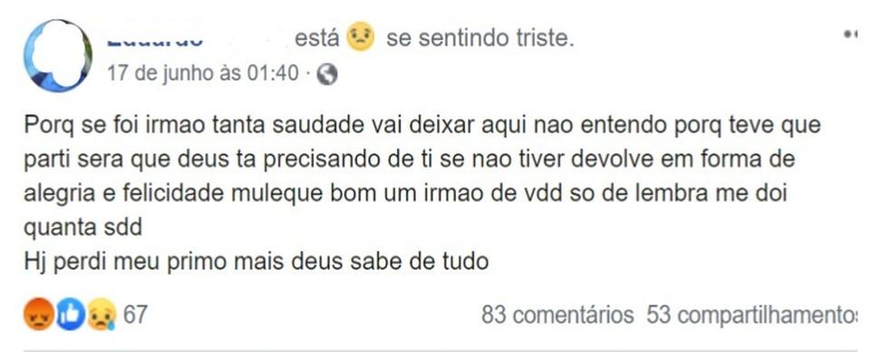 Jovem suspeito de abusar e matar criança em Campos, RJ, faz publicação nas redes sociais, horas depois do crime — Foto: Reprodução/Facebook