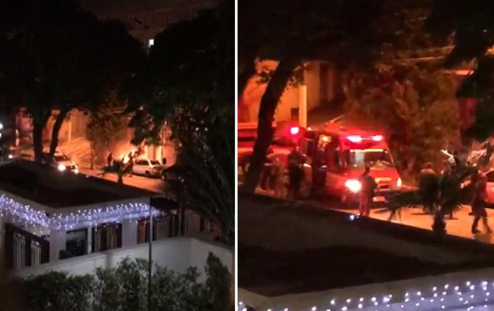 Imagens feitas por moradora de prédio mostram fogo em morador de rua e chegada do resgate em São Paulo — Foto: Arquivo Pessoal